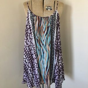 Express Purple Multi Abstract Scoop Neck Dress XS